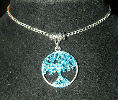 """Blue Glitter Tree of Life Pendant Necklace 16"""" Silver Chain : Pagan Wicca Occult"""