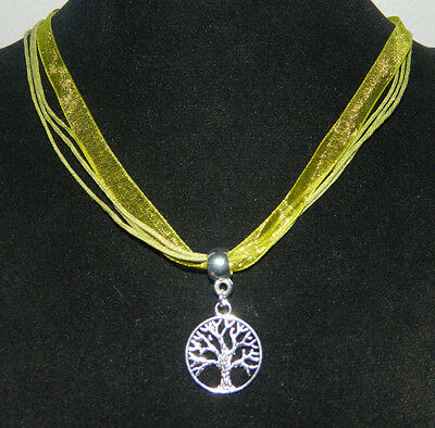 """Organza Ribbon Necklace : Silver Tree of Life Pendant Green 17"""" Pagan Wicca"""