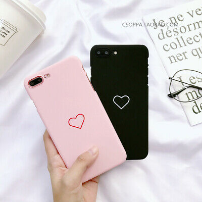 For iPhone Xs Max XR 7 8 Plus Slim Fit Love Heart Hard Case Protective Covers