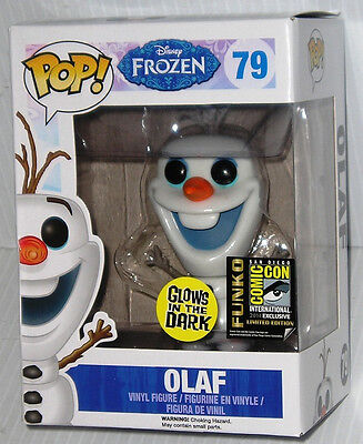 FUNKO 2014 POP FROZEN SDCC Exclusive OLAF Glows In The Dark #79 Sealed In Stock