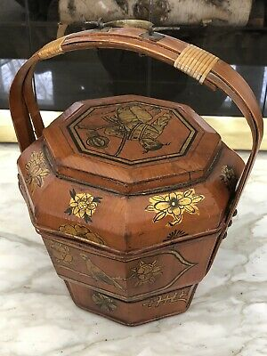 """Rare Antique Chinese Hand-Painted Wedding Lunch Basket 15"""" x 11""""  w/Lid"""