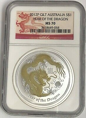 2012 P $1 Ngc Ms70 Gold Gilted Australia Lunar Year Of The Dragon 1 Oz Silver