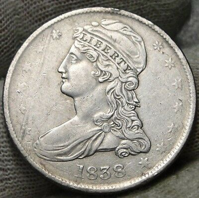 1838 Capped Bust Half Dollar 50 Cents -  Nice Coin Free Shipping (7447)