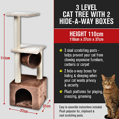3 Multi Level Cat Kitten Tree Scratching Pole Post Tower Furniture Hideaway110cm