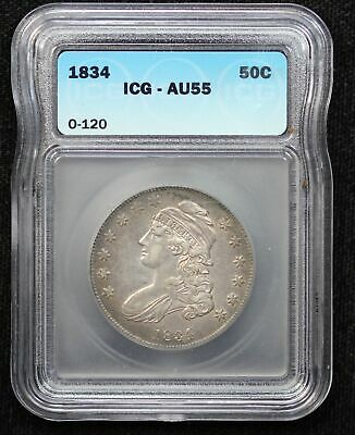 1834 Capped Liberty Bust Half Dollar 0-120 Icg Au-55
