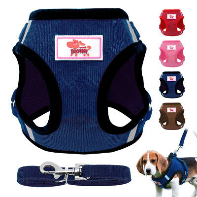 Soft Mesh Small Dog Harness Step-in Puppy Harness Leash Set Pet Jacket Vest 23