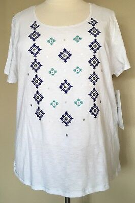 NWT Onque Casual Jersey Knit T-Shirt Top Sequin Embroidery Accent White Sz 3X