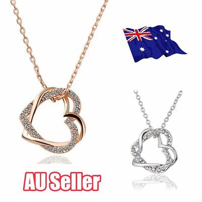 18K Rose Gold Filled Women's Heart Pendant Necklace With Crystal L3