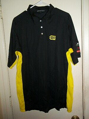 Best Buy Geek Squad Employee POLO WORK SHIRT Size LARGE Black & Yellow NEW