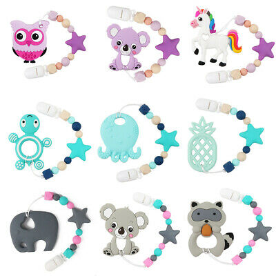 Baby Teether Silicone Beads Teething Toys Bead Pacifier Chain Bracelet Chewable