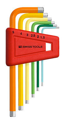 PB Swiss Tools PB 210.H-5 RB Hex Key Set Metric Rainbow 1.5-5mm 6-Piece