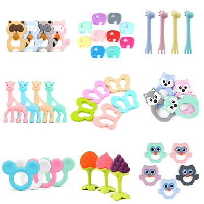 1X Baby Silicone Teether Teething Toy Beads Chewing Ring Neckace Nursing Infant