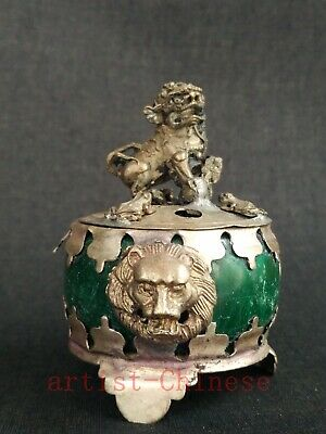 Collect Old China Tibet Silver Parcel Jade Lion Smoked Incense Burner Decoration