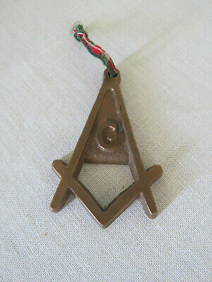"""Vintage Masonic Lodge Solid Brass Pendant """"G"""" on Square and Compass"""