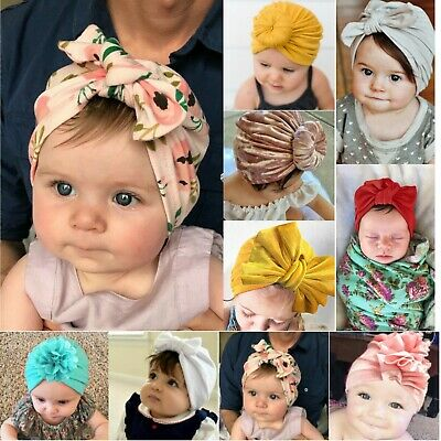Newborn Baby Turban Headbands Knot Bow Hat Boys Girls Beanie Cotton Indian Cap
