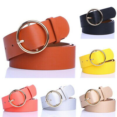 UK SALE Ladies Women Round Buckle Belt Dress Jeans Faux Leather Waistband