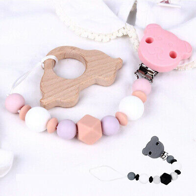 Baby Silicone Teether Beads Teething Toy Clip Bead Pacifier Chain Chew Soother