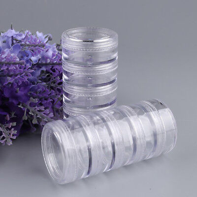 1Set 5 x 5ml Empty Clear Stacking Jars Beads Nail Crafts Cosmetics Pots Plastic