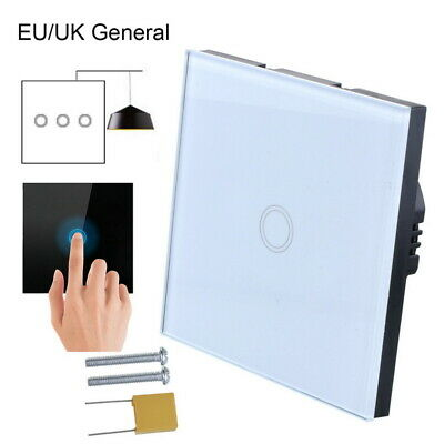 NEW 1/2/3 Gang LED Light Touch Switch Tempered Glass Panel Wall Screen Smart HOT