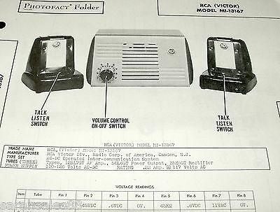 service manual photofact rca victor mi-13167 inter communication sys w- schematic