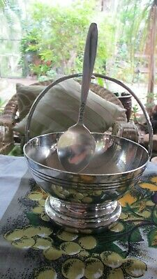 Vintage Silver Plated Sugar Bowl Basket & Spoon ,High Teas