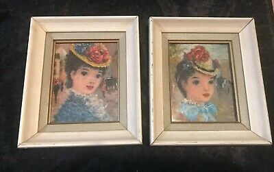 Vintage French Lady Prints Framed  ~ Beautiful ~ Set Of 2