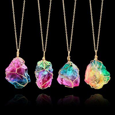 Gemstones Natural Crystal Quartz Healing Point Chakra Stone Pendant Necklace
