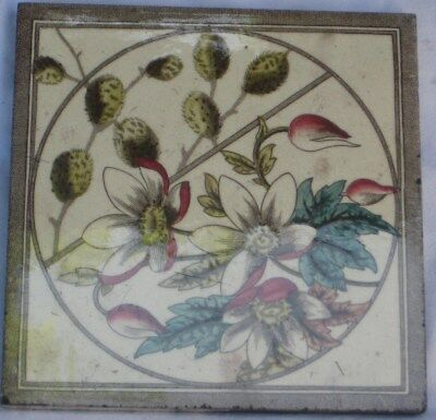 Period English Tile Pretty Flower Aesthetic Design