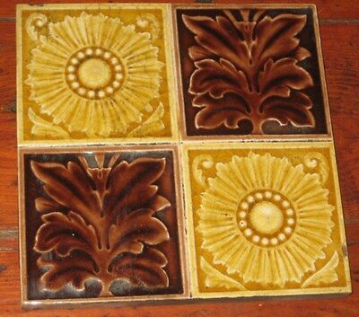 Vintage Late 19Th Century English Tile Sunflowers Leaves Aesthetic