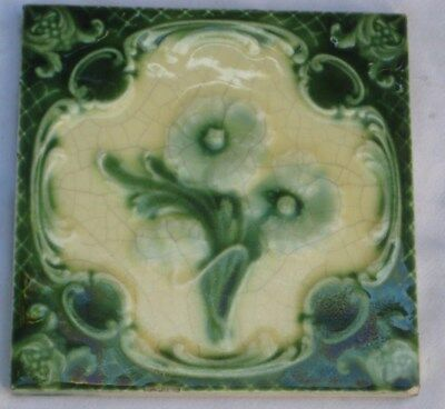 English Raised Majolica Tile Pretty Flower Design