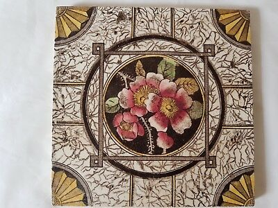 English Period Tile. Pretty Colourful Flower Decoration.
