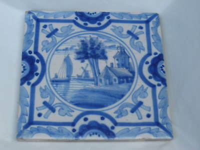 charming 6inch old DELFT TYPE TILE probably late 19th century BOAT HOUSE ++