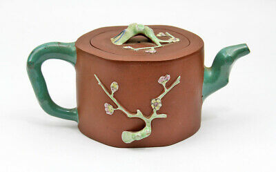 Vintage Antique Oriental Asian Chinese Enamel Yixing Zisha Red Clay Tree Teapot