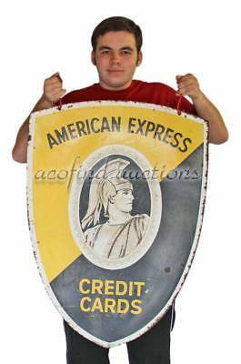 "Vintage Double Sided 35""X25"" AMERICAN EXPRESS Credit Card Heavy Metal Sign 6693"