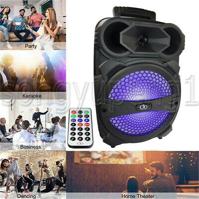 "8"" BT Party Speaker System Bluetooth Big Led Portable Stereo Tailgate Loud FM TF"