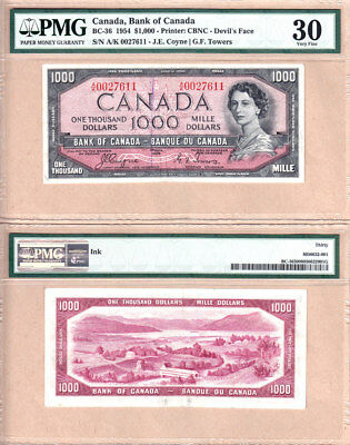 1954 $1000 Bank of Canada QE2 Devil's Face Note, Coyne & Towers PMG VF30 (VF/EF)