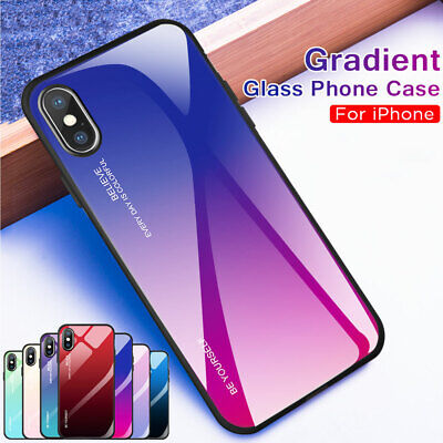 Gradient Tempered Glass Hard Back Case Cover for iPhone XS Max XR X 6s 7 8 Plus