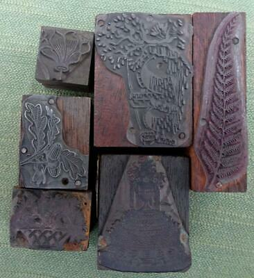 Collection of 6 Letterpress Printing Blocks with a Foliage and Flowers Theme