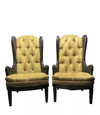 Pair Vintage Mid Century Gold Tufted Velvet & Cane High Back Chairs
