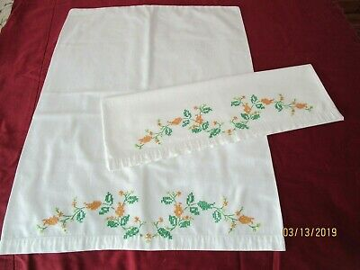"""Pr of Tobin ROOSTER Stamped Embroidery Kitchen Towels W// Woven Stripes 20/"""" x 28/"""""""