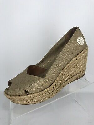 9e53bb419 Tory Burch Filipa Espadrille Wedge Shoe Metallic Gold Women's Size 7B S1