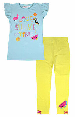 Girls T-shirt and Leggings Set Kids Summer 2 Piece Set Age 2 3 4 5 6 7 8 Years