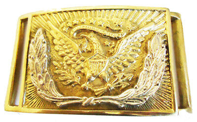 American Civil War Silver Wreath Eagle Officers Square Brass Belt Buckle 8x6cms
