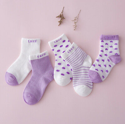 5 Pairs Baby Socks Soft Cotton Breathable Socks for 0-12 Months Infant Toddler