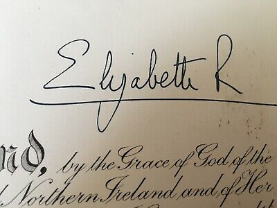 Obe Order British Empire Certificate Signed By Queen Elizabeth & Prince Philip