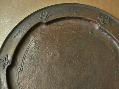 FRED BROSI Mission Kopperkraft ARTS CRAFTS COPPER TRAY Signed NOUVEAU FLOWER Big