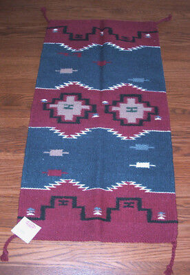 """Throw Rug Tapestry Southwestern Thick Hand Woven Wool 32x64/"""" 432"""