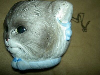 RARE antique bisque signed KPM FAIRY LAMP Glass Eyes Owl & Pussy Cat orig.chains