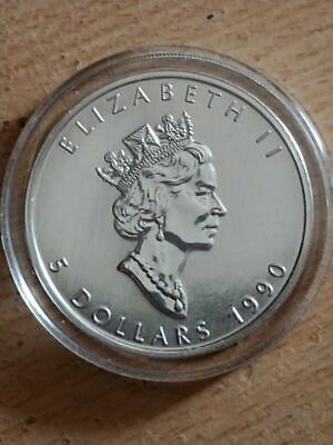 Canadian Maple Leaf 1990 $5.00 Silver Coin One Ounce BU Encapsulated Last One