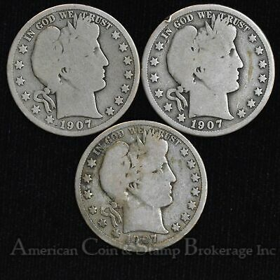 50c Cent 1/2 Half Dollar 1907 P D O Barber Head Silver 3 Coin Lot